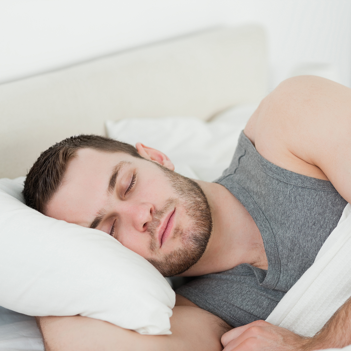 Handsome man sleeping